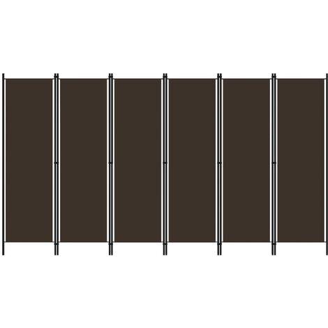 vidaXL Biombo divisor de 6 paneles marrón 300x180 cm - Marrón