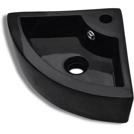 vidaXL Lavabo con Rebosadero 45x32x12,5 cm Negro - Negro