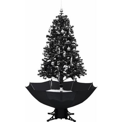 vidaXL Árbol de Navidad con nieve y base de paraguas PVC negro 170 cm - Negro