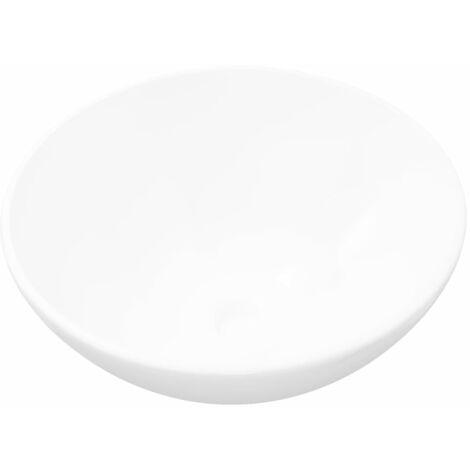 vidaXL Lavabo de cuarto de baño redondo cerámica blanco - Blanco