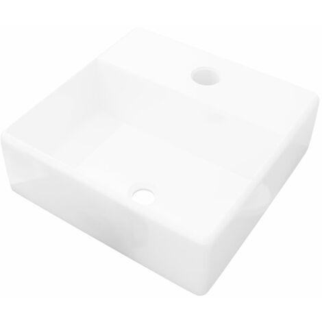 vidaXL Lavabo de Cerámica Cuadrado con Orificio de Grifo y Desagüe Blanco - Blanco