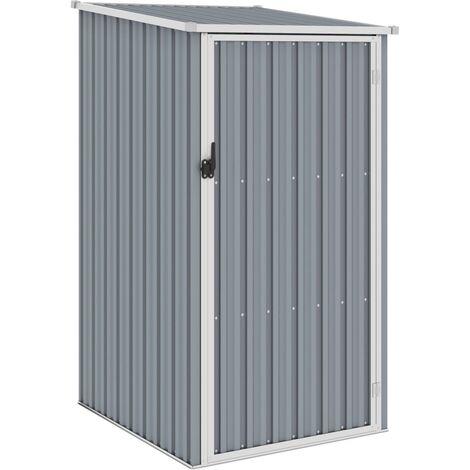 vidaXL Cobertizo de jardín gris acero galvanizado 87x98x159 cm - Gris
