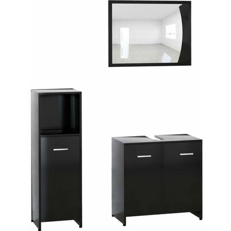 vidaXL Conjunto de muebles de baño 3 piezas aglomerado negro - Negro