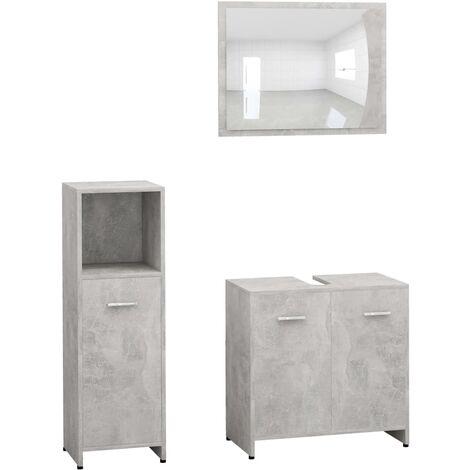 vidaXL Conjunto de muebles de baño 3 piezas aglomerado gris hormigón - Gris