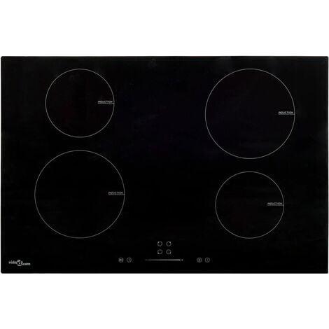 vidaXL Placa de inducción 4 quemadores táctil vidrio 77 cm 7000 W