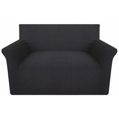 vidaXL funda elástica para sofá de punto de algodón color antracita - Gris