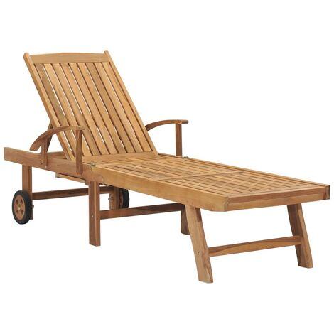 vidaXL Tumbona de madera maciza de teca - Marrón