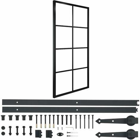 vidaXL Puerta corredera de aluminio y vidrio ESG con herrajes 90x205cm - Negro