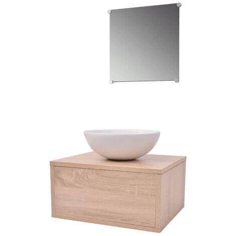 vidaXL Conjunto de Muebles de Baño y Lavabo 3 Piezas Beige - Beige