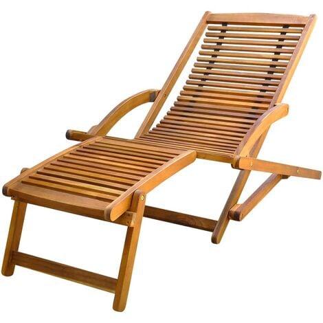 vidaXL Tumbona con reposapiés de madera maciza de acacia - Marrón
