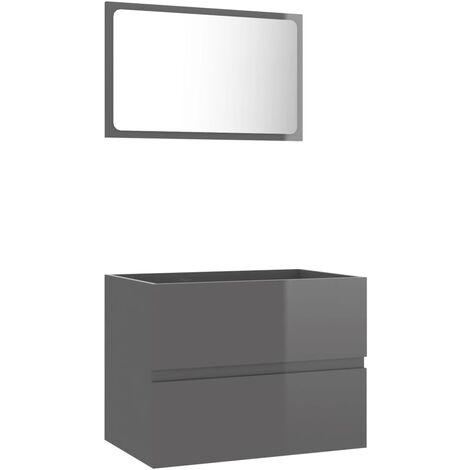 vidaXL Conjunto de muebles de baño 2 piezas aglomerado gris brillante - Gris