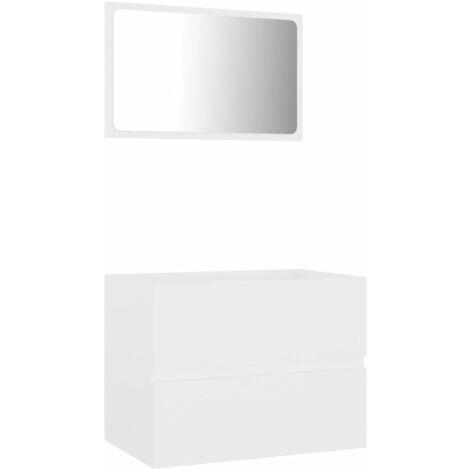 vidaXL Conjunto de muebles de baño 2 piezas aglomerado blanco - Blanco