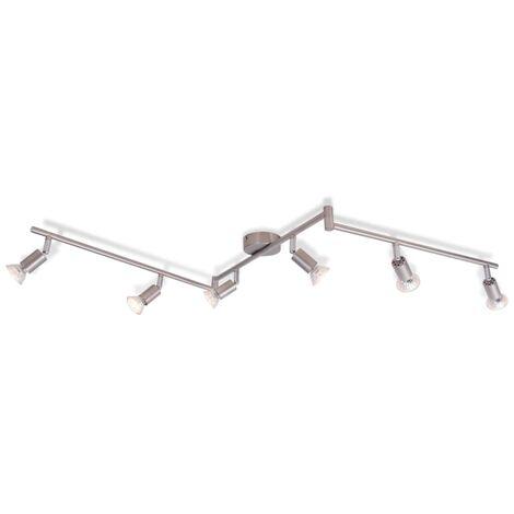 vidaXL Lámpara de techo con 6 focos E14 níquel satinado - Plateado