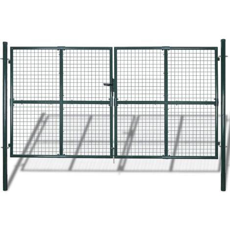 vidaXL puerta doble de valla con recubrimiento en polvo de acero - Verde