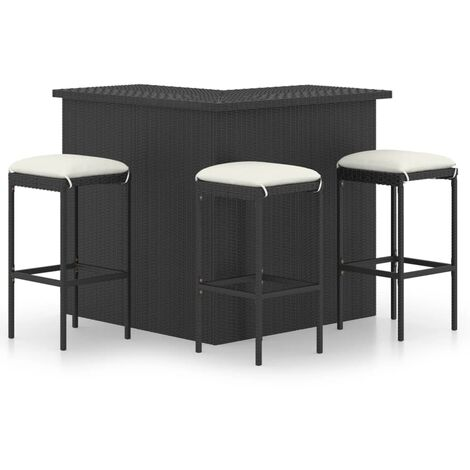 vidaXL Set de bar para jardín 4 pzas y cojines ratán sintético negro - Negro