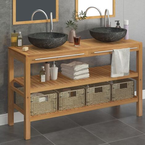 vidaXL Mueble tocador madera maciza teca con lavabos de mármol negro  - Marrón