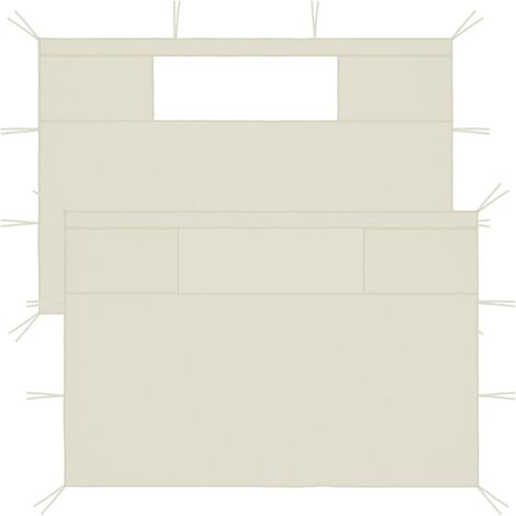vidaXL Paredes laterales de cenador con ventanas 2 unidades crema - Crema