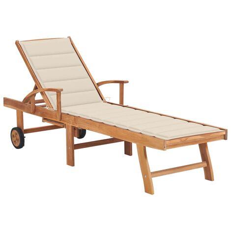 vidaXL Tumbona de madera maciza de teca con cojín color crema