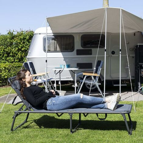 Campart Travel Tumbona camping plegable Ancona antracita 200x67x35cm - Antracita