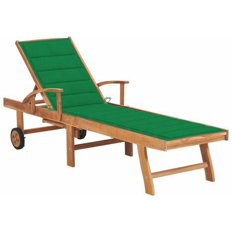 vidaXL Tumbona madera maciza de teca con cojín verde