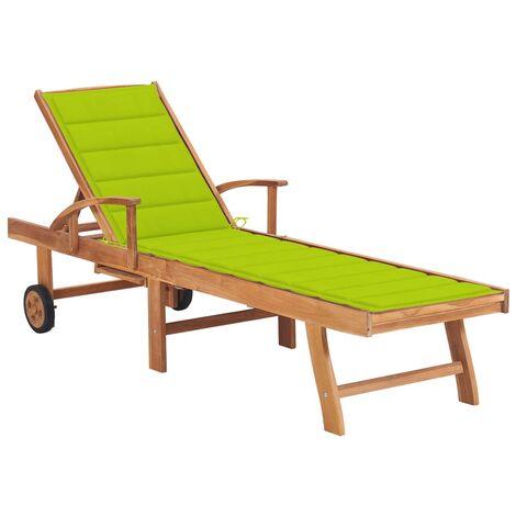 vidaXL Tumbona de madera maciza de teca con cojín verde brillante