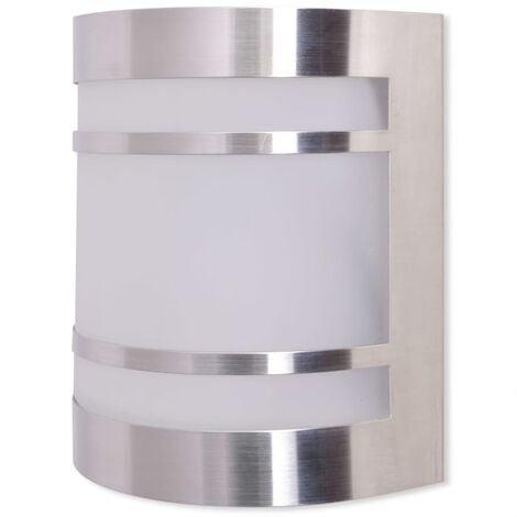 vidaXL Lámpara de pared para exteriores acero inoxidable - Plateado