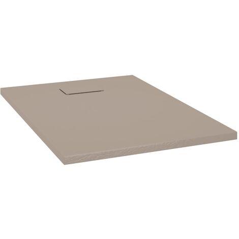 vidaXL Plato de ducha SMC marrón 100x70 cm - Marrón
