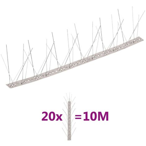 vidaXL Set de 5 hileras de pinchos contra pájaros y palomas 20 uds 10m