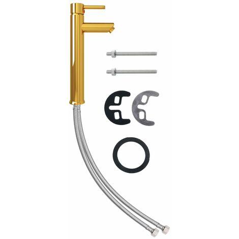 vidaXL Grifo mezclador de cuarto de baño dorado 12x30 cm - Gris