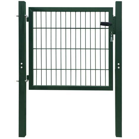 vidaXL Puerta de vallado de acero verde 103x150 cm - Verde