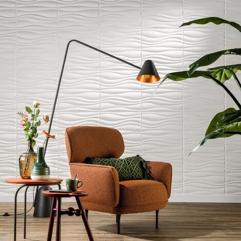 WallArt Paneles murales 3D ondulados 12 piezas GA-WA04 - Blanco