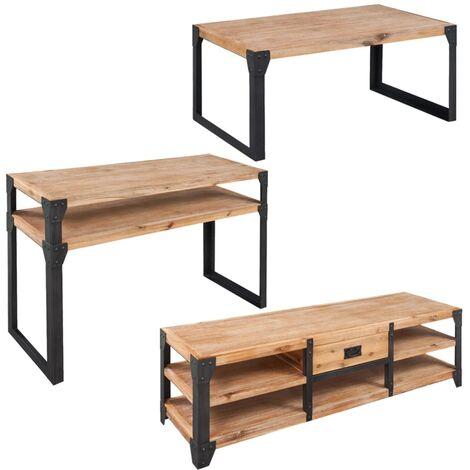 vidaXL Muebles de Salón Madera Maciza de Acacia Mueble para TV Mesa de Centro Mesa Consola - Marrón