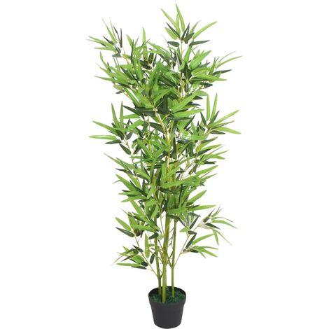 vidaXL Planta de Bambú Artificial con Maceta 120 cm Verde - Verde