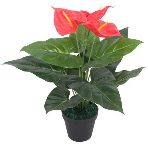 vidaXL Planta Artificial con Macetero de Anturio 45 cm Roja y Amarilla - Rojo