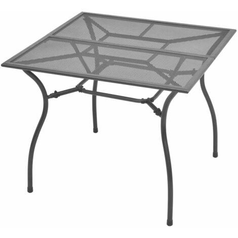 vidaXL Mesa de Jardín de Malla de Acero 90x90x72 cm - Gris