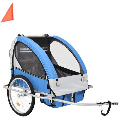 vidaXL Cochecito y Remolque de Bicicleta para Niños 2-en-1 Azul Gris - Blu