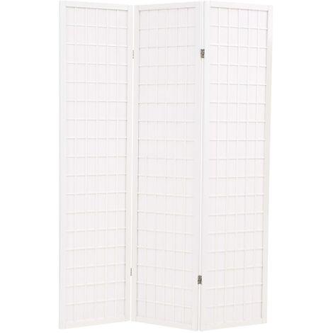 vidaXL Biombo Plegable Estilo Japonés con 3 Paneles 120x170 cm Blanco - Blanco