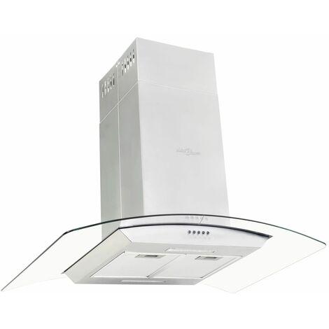 vidaXL Campana extractora de techo 90 cm acero inoxidable 756 m³/h LED - Plateado