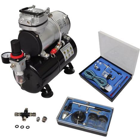 vidaXL Compresor de Aerógrafo con 2 Pistolas Modelo 2