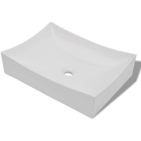vidaXL Lavabo de Cuarto de Baño de Cerámica Porcelana Art Rectangular Blanco Brillante - Blanco