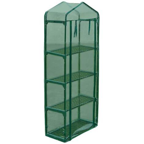 vidaXL Invernadero Armazón de Acero con 4 Estantes - Verde