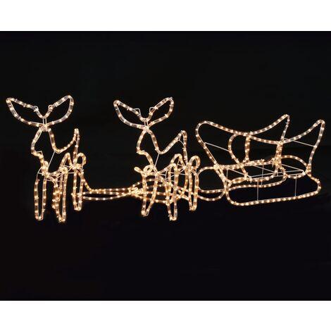 vidaXL Luces de Navidad 2 renos y trineo 300x24x47 cm - Naranja