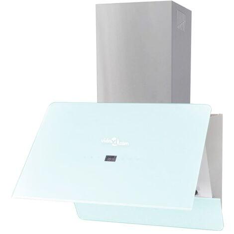 vidaXL Campana extractora cristal templado blanco 600 mm - Blanco