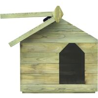vidaXL Casa de perro de jardín tejado abierto madera pino impregnada - Verde