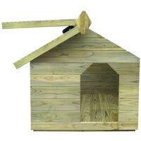 vidaXL Casa de perros de jardín tejado abierto madera pino impregnada - Verde
