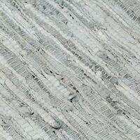 vidaXL Alfombra chindi tejida a mano cuero 120x170cm gris claro/marrón - Gris