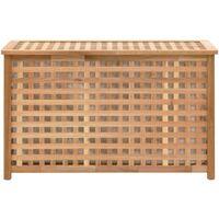 vidaXL Baúl para la ropa sucia madera maciza nogal 77,5x37,5x46,5 cm - Marrón