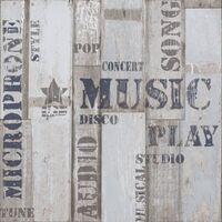 Urban Friends & Coffee Papel pintado tablas madera palabras azul gris - Multicolor