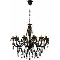 vidaXL Lámpara de araña con cuentas negro 12 bombillas E14 - Negro