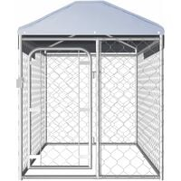 vidaXL Perrera de exterior con techo 200x100x125 cm - Plateado